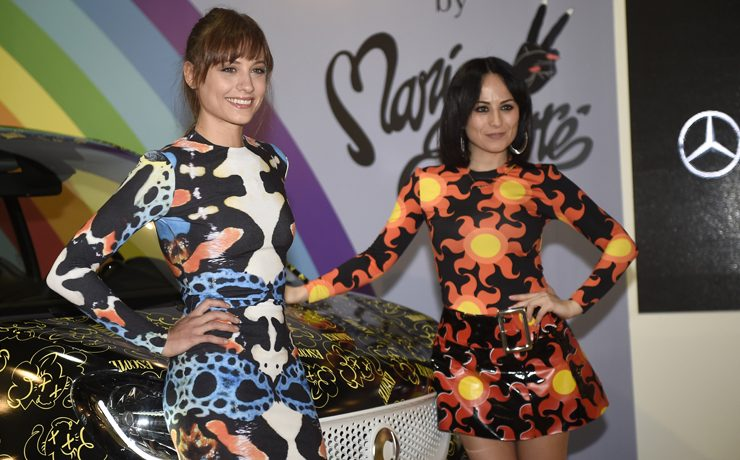 Designer Maria Escote and Actress Michelle Jenner at promotional event of Mercedes by Maria Escote during Pasarela Cibeles - Mercedes-Benz Fashion Week Madrid 2016, in Madrid, on Monday 22nd February, 2016.