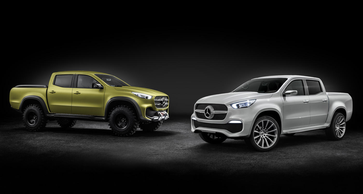 Mercedes-Benz Concept X-CLASS stylish explorer (rechts) und Mercedes-Benz Concept X-CLASS powerful adventurer (links) // Mercedes-Benz Concept X-CLASS stylish explorer (right) and Mercedes-Benz Concept X-CLASS powerful adventurer (left)